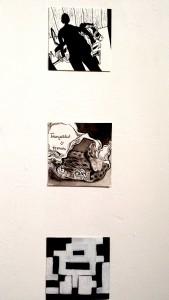 Stephanie Ramírez, Sin título Impresión digital . Natasha Laracuente, Lo mejor de mi vida, Tinta china y bolígrafo sobre papel. Grace Santana, Descargando la Memoria. Acrílico sobre papel