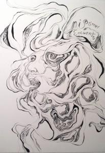 Natasha Bree Laracuente, Enredos de la Memoria, 2015. [Detalle de] Políptico, bolígrafo y tinta china sobre papel.