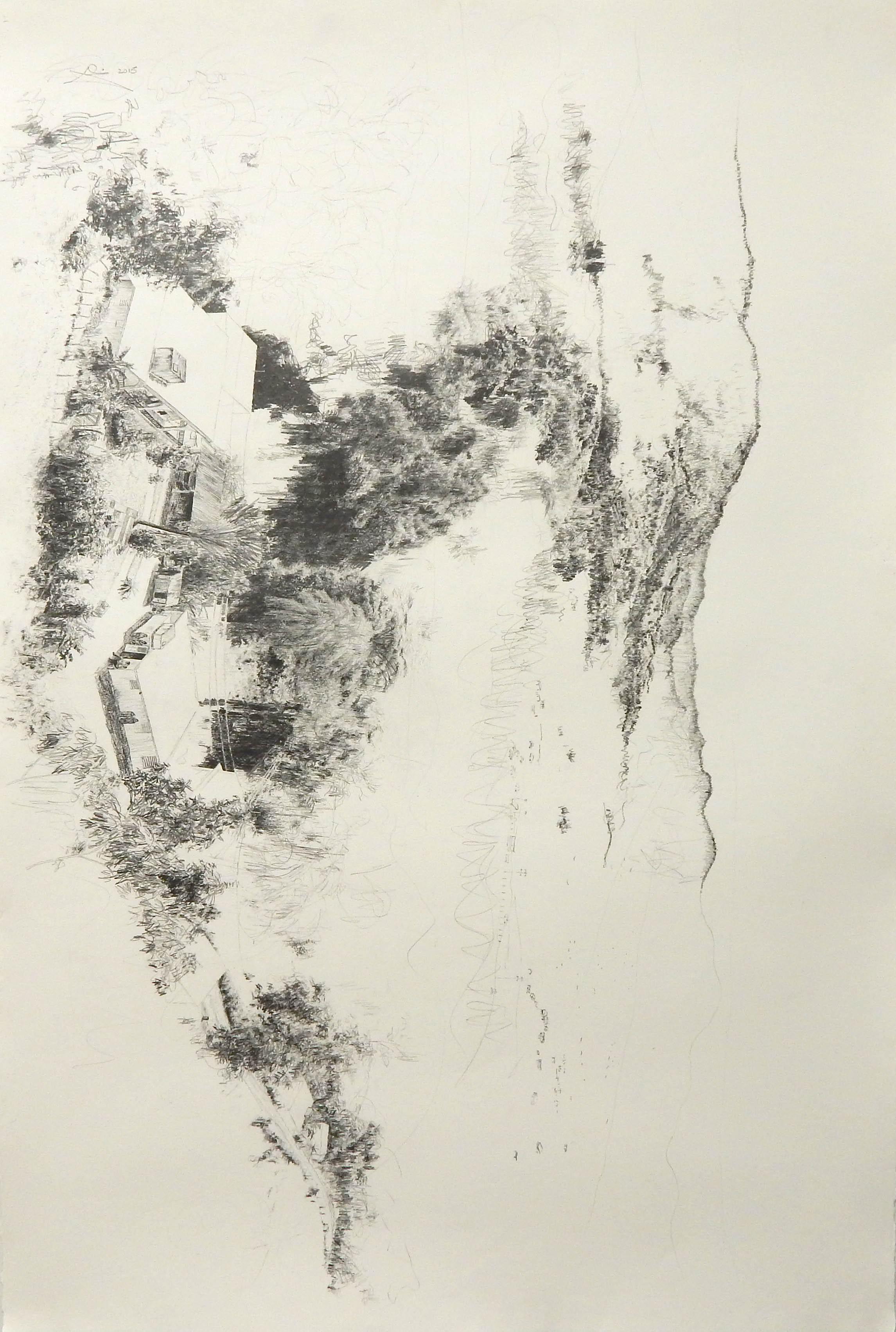 """Tratado de la memoria, 2015 Lápiz de grafito sobre papel, 44"""" x 30"""" Colección Dennis Simonpietri"""